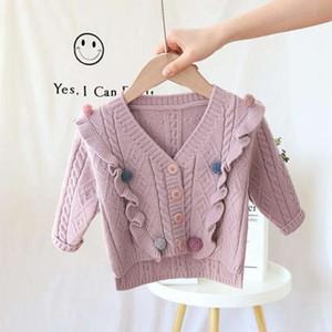 2020 knitwear girls' winter Korean baby children's lovely solid color long sve V-Neck sweater