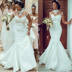 2020 Plus Size Arabic Aso Ebi Luxurious Lace Beaded Wedding Dresses Mermaid High Neck Bridal Dresses Vintage Sexy Wedding Gowns