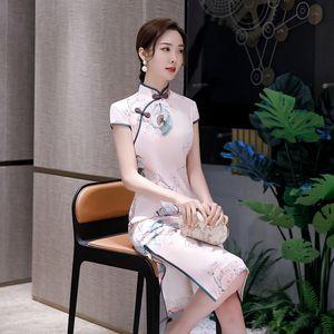 NlvGM Улучшение Cheongsam средней длины платья 2020 весна лето новый китайский стиль National Cheongsam новая юбка cheongsamyoung девушка Длинные национальный