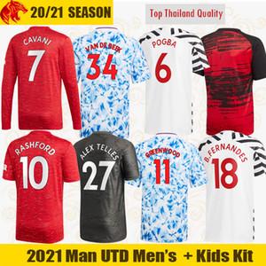 20 21 Manchester United Futbol Formaları VAN DE BEEK 2020 2021 Hayranları ve Oyuncu Sürümü Man Utd RASHFORD FERNANDES Futbol Gömlek Erkekler bayan Çocuklar