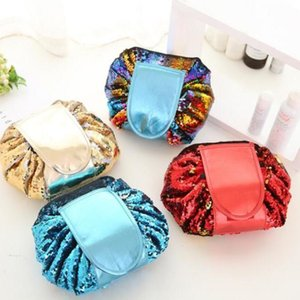 Sequins Cosmetic Bags Mermaid Sequined Makeup Bag Drawstring Travel Cosmetics Bag Women PU Leather Clutch Storage Bags Pouch