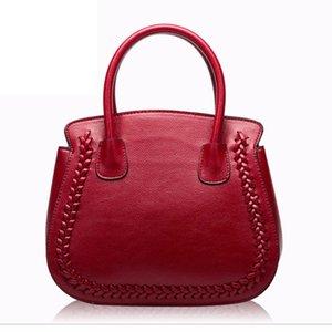 2020 new weave bag European and American fashion Litchi pattern Cowhide leather bag shoulder Women shell female handbag