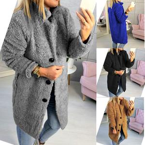 Brasão Mulheres Faux Fur Teddy Outono Inverno quente grossa Fluffy longo casacos de pele lapela Shaggy Jackets Overcoat Plus Size Outwear