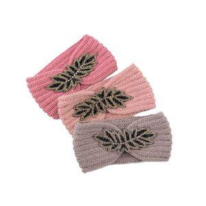 Kış Sıcak Tutun Örgü Kafa Bayan Yünlü İplik Hairband Açık Havada Spor Yoga Şapkalar Onbeş Yaprak Kafa Bant Parti Favor 201 G2