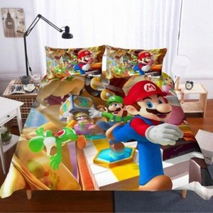 Новый Super Mario Bros Пододеяльник Пододеяльники Наволочки Mario Утешитель постельного белья Soft Постельное белье для детей Спальня Аксессуары EZJu #