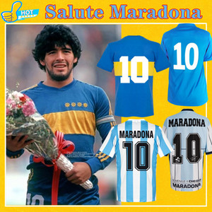 Maradona Retro Boca Juniors 1981 Argentinien Diego Maradona Fussball Jersey 1986 1994 2001 Napoli 87 88 89 90 91 Classic Football Shirt