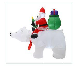Рождество Санта-Клаус Hotselling снеговика Надувной костюм рождественской вечеринки костюм Одежда Надувной Санта-Клаус с медведем Интерьер DWB2405