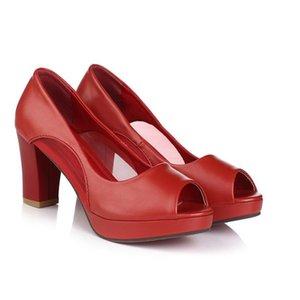 드레스 신발 패션 열린 발가락 섹시한 메쉬 chunky 하이힐 빨간색 흰색 검은 파티 결혼식 연회 펌프 여자