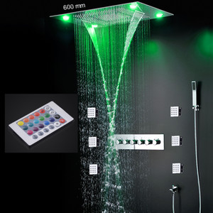 luxury chrome shower set led 24 inch square 3 functions shower head big rain waterfall shower faucet thermostatic high flow