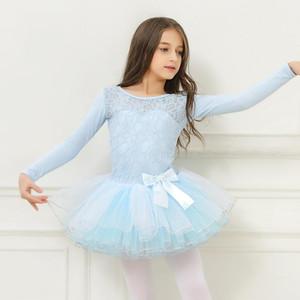ballet dresses for girls leotard Children long sleeve ballet costumes lace dress dance tutu skirt