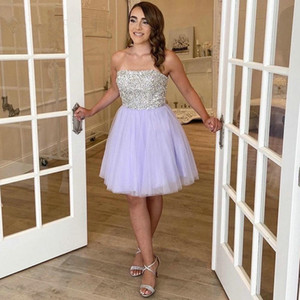 Silver Top Strapless Homecoming Dresses Cheap Bride Party Graduation Gowns Zipper Back Tulle A Line Short Prom Dress