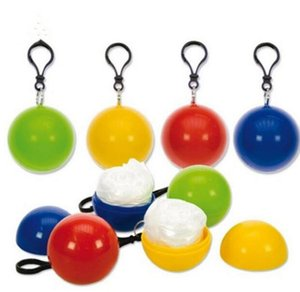 Spherical Raincoat Candy Color Plastic Ball Key Chain Disposable Portable Raincoats Rain Covers Travel Tour Trip Rain Coat Cls607