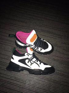Velvet Flashtrek Sneaker Mens Women Casual Shoes Women Flashtrek Leather Sneaker Men Low Top Lace-Up Platform Shoes With Crystals ct4