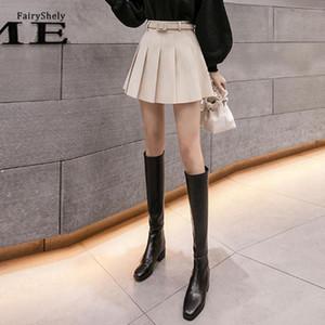 Fairyshely Katı Yün Pileli Mini Etek Kadın 2020 Kore Kemer Yüksek Bel A-Line Anti Boş Maç Moda Rahat Culottes