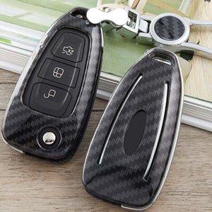 Araba Anahtarı Vaka İçin Ford Focus 2 3 4 Odak Mk2 Mk3 Mondeo Mk3 Mondeo Mk4 Mustang Kapak Shell Çanta Koruyucu Anahtarlık 3 Butt Karbon Elyaf