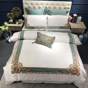 Восточные вышитые роскошные египетские хлопчатобумажные белые королевские постельные принадлежности Queen king-size Hotel Bedging Sets наборы одежды Крышка для одежды Комплект простыня 201021