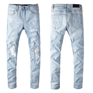 2020 Mens Fashion AMİRI Skinny Jeans Uomo Dritto Slim Elastico Elastico Jeanscasuale Motociclista maschile Stretch Denim Pantaloni classici Pantaloni classici