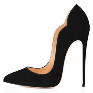 SHOFOO shoes,Beautiful and fashionable women's shoes, suede, about 12cm high heels, pointed toe pumps.size: 34-45