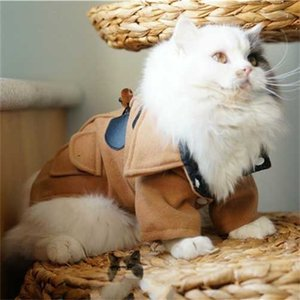 Cats Woolen Jacket Kitten Dog Pets Trench Coat Winter Clothes S-XXL Brown Gray Y1127