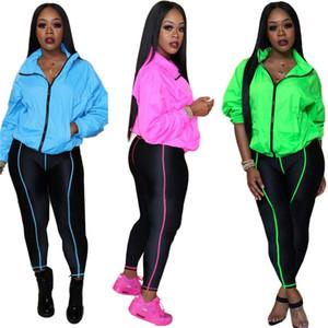 Tasarımcılar Kadın Giyim Floresan Katı Renk Tracksuits Uzun Kollu Fermuar Ceket Palto Pantolon ayarlar İki Adet Kıyafetler Spor F110602 setleri