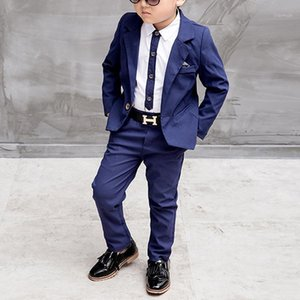 Azul / Red Niños Traje Big Boys Trajes Niños Blazer Boys Traje de moda para ropa de boda Chaquetas Blazer + Pantalones + Camisa 3-10Y1