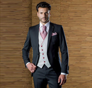 Herrenanzüge Blazers Hübscher Designer Mens One Button Erreichte Revers-Hochzeit für Männer mit Jacke Weste und Hosen Bräutigam Smoking drei Teile