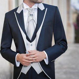 2020 new formal Ivory Men Suits Shawl Lapel Formal Groomsmen Best Man Wedding Tuxedos Blazer men suit (Jacket+Pants+Vest+Tie)