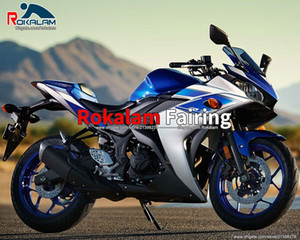 For Yamaha R25 R 25 15 16 R3 R 3 2015 2016 2017 Blue Sliver ABS Aftermarket Motorcycle Fairing Kit (Injection Molding)