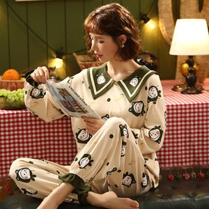 Nightwa осень моды все-хлопок пижамы набор для женщин с длинным рукавом свободные уплотнительные чашки с первой шейкой