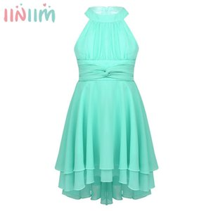 iiniim Kids Halter Pleated High-Low Hem Flower Girl Dress Princess Girls Summer Dresses Pageant Vestido de festa Party Dress