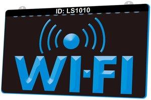 LS1010 Wi Fi Fi Free Internet Services 3D النقش LED ضوء علامة 9 ألوان الجملة التصميم المجاني بالتجزئة