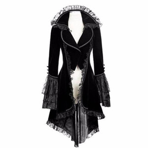 Womens Vintage Long-sleeved waist Back Bandage Lace Stitching Tuxedo Jacket Overcoat Retro Jacket chalecos para mujer #0924