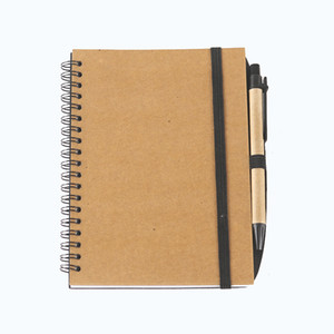 Solid color advertising kraft paper with pen meeting record notebook coil notebook rollover coil student notes notepad customization