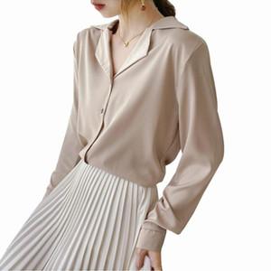 Foxmertor molle di alta qualità intaglio Camicetta Camicie Donna 2020 manica lunga bianco Autunno Top Female chiffon camicette Top