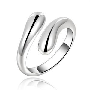 Silver Color Rings Fashion Jewelry Free Shipping Teardrop Shaped Wemen Lady Wedding Open Ring Drop Wedding R012 H jllnom