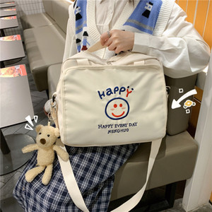 2020 NewKorean Lovely girl Pure color One shoulder crossbody bag Fashionable Women Handbag Japanese Campus style Schoolbag Q1230