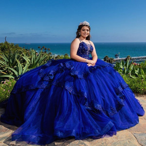 Ball Gown Quinceanera Dresses Royal Blue 2021 Beading Crystal Lace Applique Spaghetti Lace-up Tulle Sweet 16 Dress Prom Plus Size Party Dres