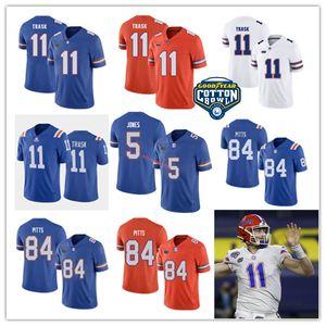 Mens Florida Jacarés Futebol Emory Jones Jonesy costurado 11 Kyle Trask 84 Kyle Pitts Florida Gators Jersey S-3XL