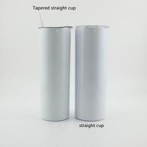 Sublimation DIY Cups 20 Unzen schwarze weiße dünne Schale mit Deckel Stroh 20 Unzen Edelstahl Trinkbecher vakuumisolierte Becher LXL1424-1