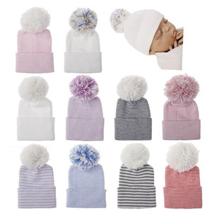 Newborn Hospital Hat Infant Baby Hat Caps with ball Soft Cute Nursery Beanie Hat