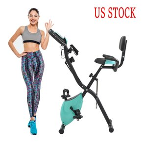 US Stock Exercise Bike with 10-Level Adjustable Resistance Fitness Upright and Recumbent Bike LCD Monitor Arm Tension Straps MS192236AAC