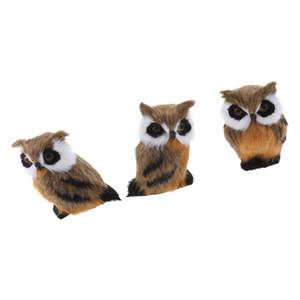 3pcs Mini Simulazione gufo animale della decorazione della casa di simulazione Owl artificiale