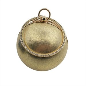 2019 Fashion Gold Color Mini Women Bags Designer Ball Shape Evening Bag Womens Clutch Handbag