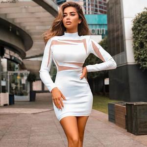 BornToGirl otoño del resorte de las mujeres del vestido de malla de costura de manga larga de cuello alto flaco atractivo del vestido blanco Negro femme bata