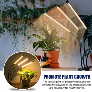 18W Dimmable Three-Tube Clip Plant Lamp Full Spectrum Warm White 3000K 60LED Black Grow Light For Houseplants