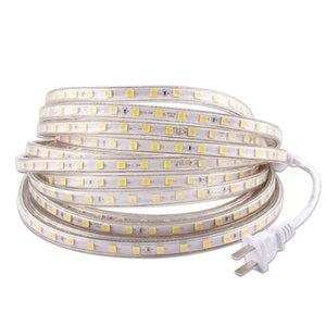 220V LED 스트립 라이트, 220V 방수 IP67 SMD 60LEDS / M 테이프 다이오드, 220V 볼트 LED 스트립 유연한 램프 전원 플러그 거실