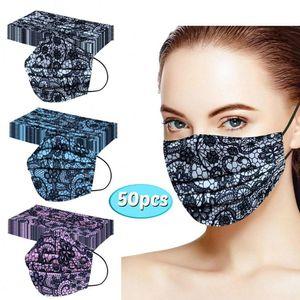 50шт Дизайнерские Lace Одноразовые маски для лица Маски для взрослых Маски для печати Mascarilla De Encaje Тушь Boca Защита лица Цвет крышки FY0105