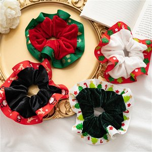 20pcs Lot Winter Christmas Flannelette Hair Ring For Female Ponytail Shower Headwear Christmas Tree Snowman Elk Deer Print Hair Rope