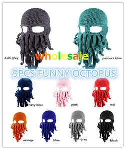 BomHCS Wholesale 9PCS Funny Series Tentacle Octopus Cthulhu Crochet Beanie Hat Cap Wind Mask