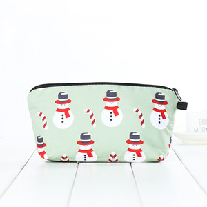 Christmas Pencil Bags Makeup Bags Kit Beautiful Professional Make Up Tool With Drawstring Santa Claus Print Bag Xmas Gift KKB2713